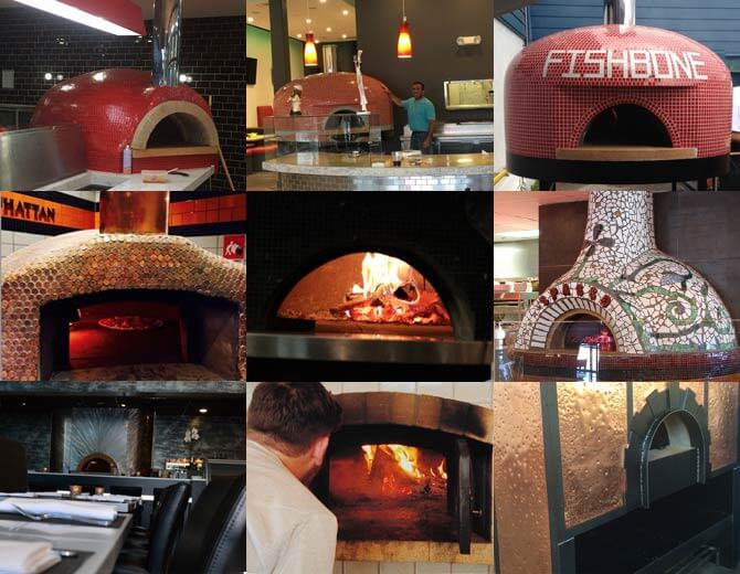 commercial pizza oven collage