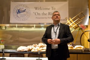 """Stefan Cappelle, of Puratos, giving the keynote address: """"The Future of Bread is Found in It's Past"""""""