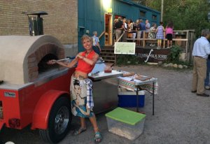 Owner Melissa, and her mobile oven!