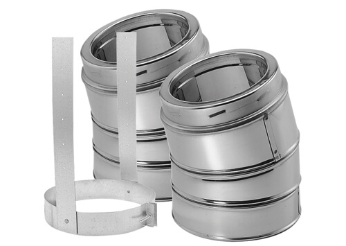 8″ DuraTech 30º elbow set (two pieces), Stainless Steel, Double Wall