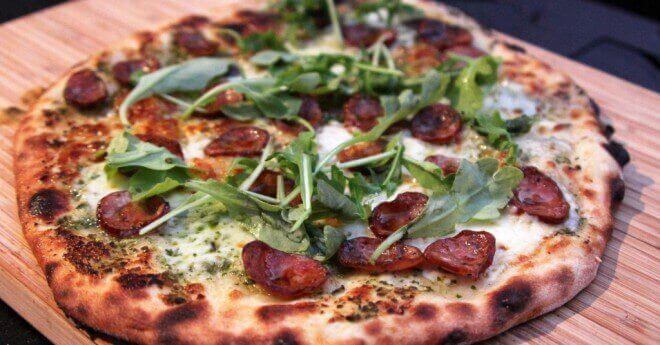 andouille sausage and pesto pizza