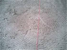 chalk line marks center of the hearth