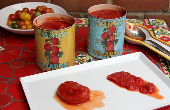 Opened Bianco DiNapoli tomato cans