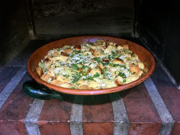 strata, bread pudding, crab meat, artichokes, recipe