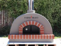 Toscana Dome Pizza Oven with Grey Paint and Forno Bravo Logo