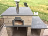 New Casa90 Pizza Oven Build with Cream--Colored Cinder Block Exterior with Grey Concrete Hearth, Top, and Attached Prep Table