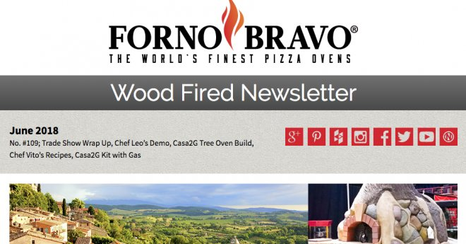 Cover of Wood Fired Newsletter June 2018, tree pizza oven sculpture, italian countryside