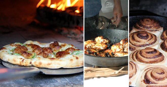 Collage of wood fired pizza-pan roasted chicken-cinnamon rolls