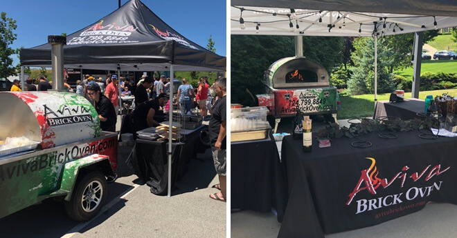 Bi-Pic of Mobile Pizza Oven and Food Booth