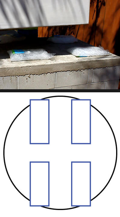 Combo picture - 4 ice bags on counter and diagram