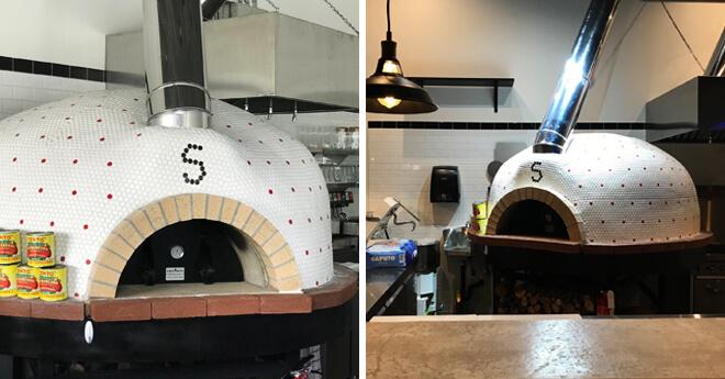 Bi-Pic of Tiled White Modena pizza Oven