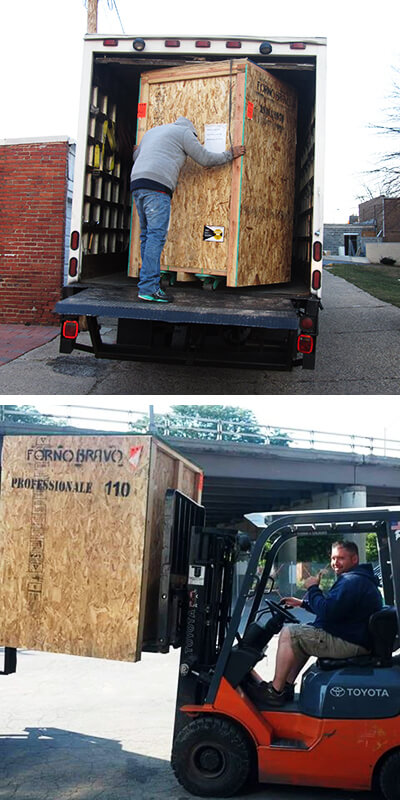 Oven crate on liftgate and forklift