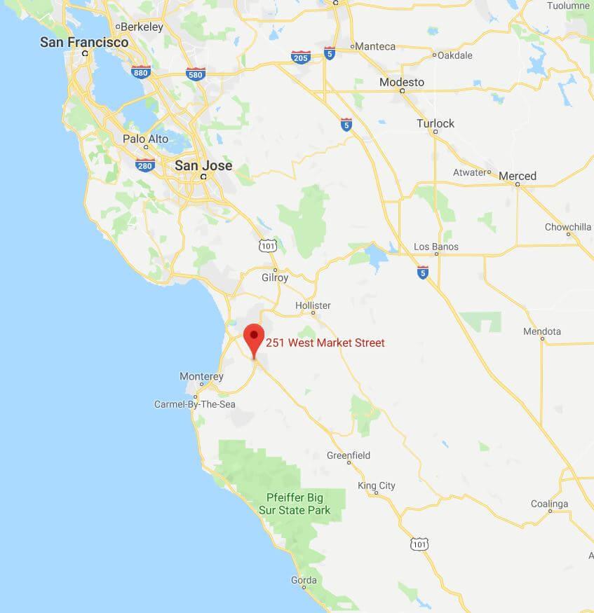 Map of Salinas CA