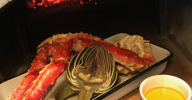 King Crab Legs-Artichoke-Melted Butter-Pizza Oven