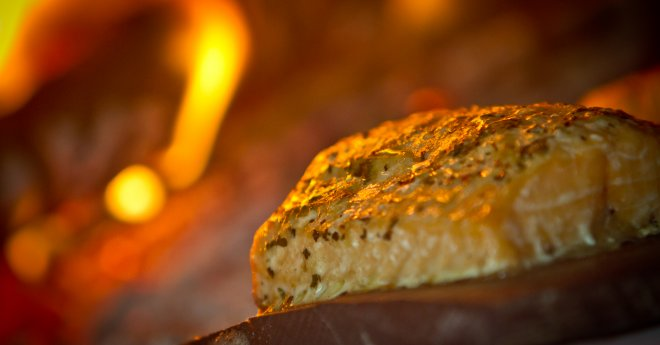 Piece of Roasted Salmon-fire