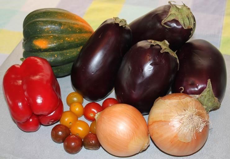 Eggplant-squash-onions-tomatoes-pepper