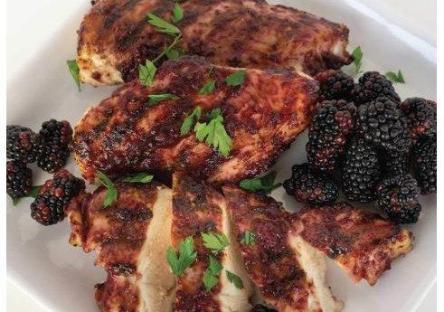 Grilled Chicken and Blackberries