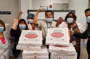 care workers-pizza boxes