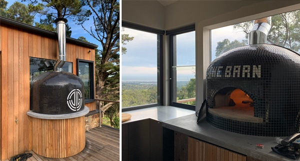 bi-pic of tiled pizza oven-inside and outside installation