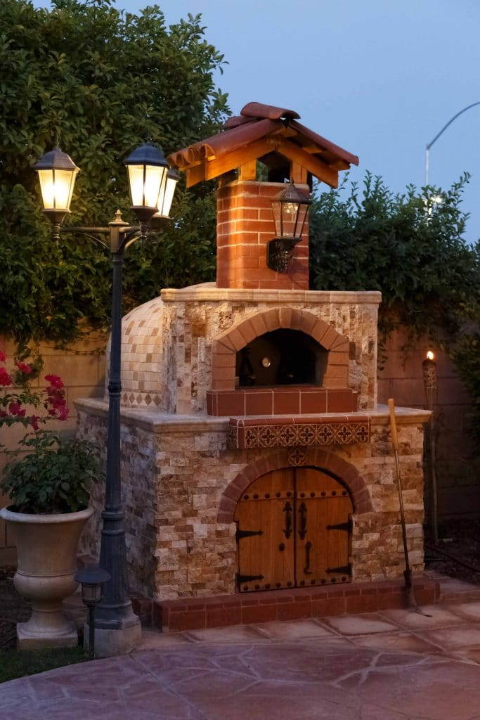 pizza oven with brick enclosure