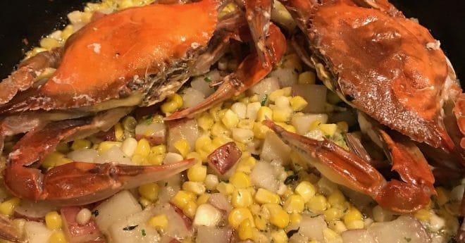 cast iron pan-crabs-hash
