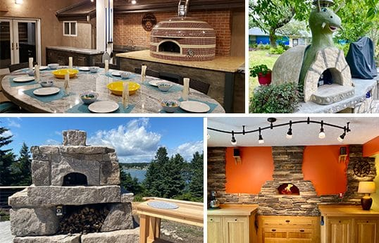 collage of pizza oven builds
