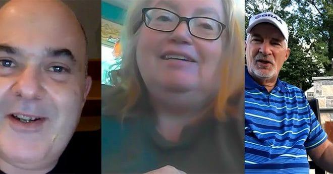 Tripic-closeups of 2 men and a woman