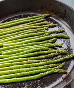 Asparagus in a Cast Iron Pan