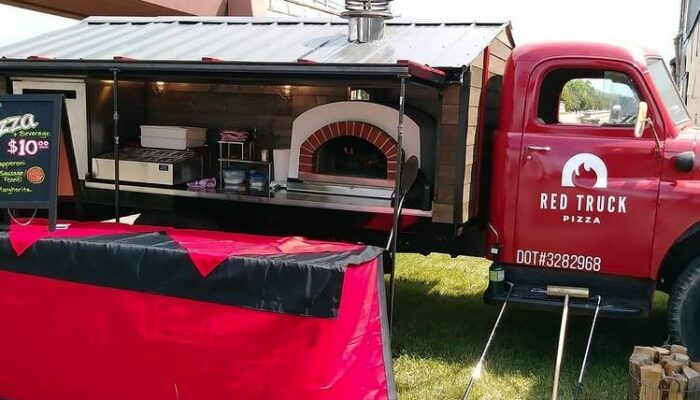Red Truck Pizza Food Truck-Service Table