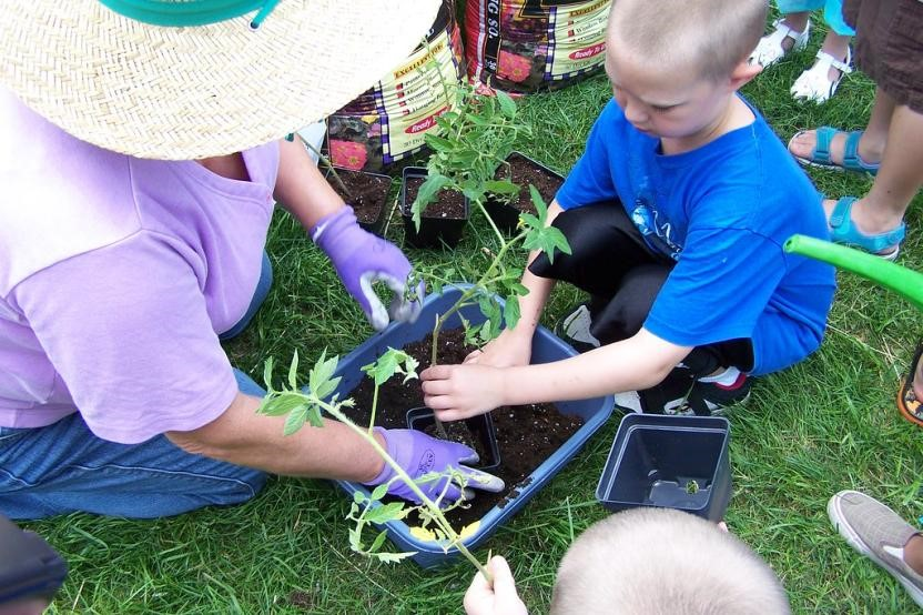 child and adult container gardening