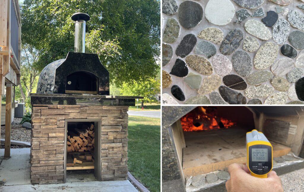 casa pizza oven-river rock-temp gun