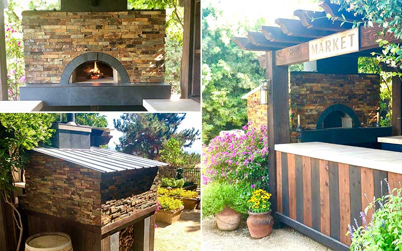 tripic-stone oven in outdoor structure